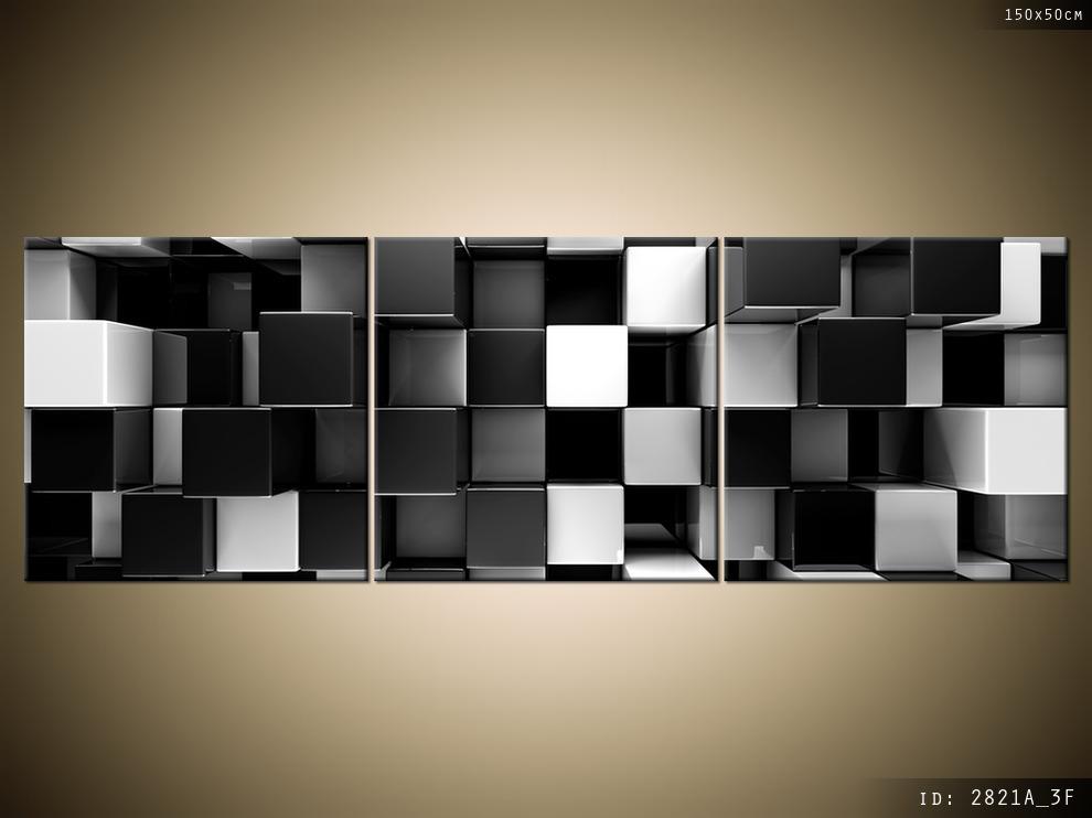 Nowoczesny Obraz Do Salonu Czarne I Białe Bloki 3d