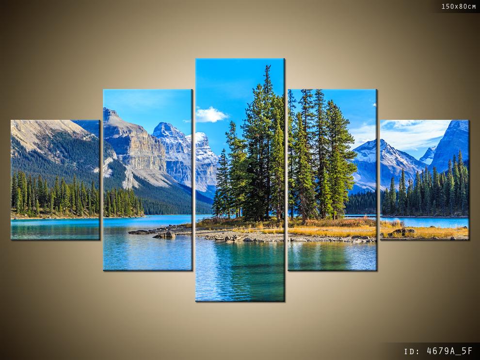 Obraz 5 Częściowy 150x80 Jezioro Maligne